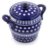 7-inch Stoneware Jar with Lid and Handles - Polmedia Polish Pottery H4078H