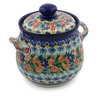 7-inch Stoneware Jar with Lid and Handles - Polmedia Polish Pottery H7636J