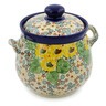 7-inch Stoneware Jar with Lid and Handles - Polmedia Polish Pottery H7637J