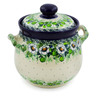 7-inch Stoneware Jar with Lid and Handles - Polmedia Polish Pottery H7639J