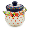 7-inch Stoneware Jar with Lid and Handles - Polmedia Polish Pottery H7640J