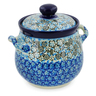 7-inch Stoneware Jar with Lid and Handles - Polmedia Polish Pottery H7643J