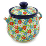 7-inch Stoneware Jar with Lid and Handles - Polmedia Polish Pottery H7644J