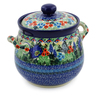 7-inch Stoneware Jar with Lid and Handles - Polmedia Polish Pottery H7650J