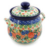 7-inch Stoneware Jar with Lid and Handles - Polmedia Polish Pottery H7651J