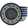 7-inch Stoneware Set of 6 Bowls - Polmedia Polish Pottery H5352J