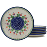 7-inch Stoneware Set of 6 Plates - Polmedia Polish Pottery H0619L