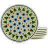 7-inch Stoneware Set of 6 Plates - Polmedia Polish Pottery H4941J