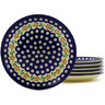7-inch Stoneware Set of 6 Plates - Polmedia Polish Pottery H8839F