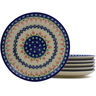 7-inch Stoneware Set of 6 Plates - Polmedia Polish Pottery H9983J