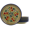 7-inch Stoneware Set of 6 Plates - Polmedia Polish Pottery H9987J