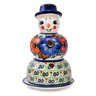 7-inch Stoneware Snowman Candle Holder - Polmedia Polish Pottery H3195H