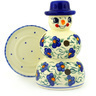7-inch Stoneware Snowman Candle Holder - Polmedia Polish Pottery H3392F