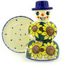 7-inch Stoneware Snowman Candle Holder - Polmedia Polish Pottery H3393F
