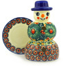 7-inch Stoneware Snowman Candle Holder - Polmedia Polish Pottery H3505F