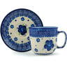 7 oz Stoneware Cup with Saucer - Polmedia Polish Pottery H0390C