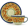 7 oz Stoneware Cup with Saucer - Polmedia Polish Pottery H0455F