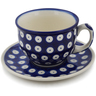 7 oz Stoneware Cup with Saucer - Polmedia Polish Pottery H0618L