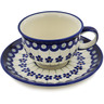 7 oz Stoneware Cup with Saucer - Polmedia Polish Pottery H0628A