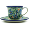 7 oz Stoneware Cup with Saucer - Polmedia Polish Pottery H0936B