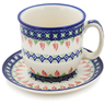 7 oz Stoneware Cup with Saucer - Polmedia Polish Pottery H1248L