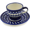 7 oz Stoneware Cup with Saucer - Polmedia Polish Pottery H1386L