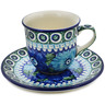 7 oz Stoneware Cup with Saucer - Polmedia Polish Pottery H1458L