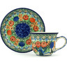 7 oz Stoneware Cup with Saucer - Polmedia Polish Pottery H1475H