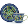 7 oz Stoneware Cup with Saucer - Polmedia Polish Pottery H1513H