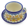 7 oz Stoneware Cup with Saucer - Polmedia Polish Pottery H2882J