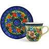 7 oz Stoneware Cup with Saucer - Polmedia Polish Pottery H3110E