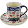 7 oz Stoneware Cup with Saucer - Polmedia Polish Pottery H3136K