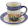 7 oz Stoneware Cup with Saucer - Polmedia Polish Pottery H3163K