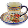 7 oz Stoneware Cup with Saucer - Polmedia Polish Pottery H3194K