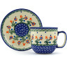 7 oz Stoneware Cup with Saucer - Polmedia Polish Pottery H3611H
