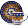 7 oz Stoneware Cup with Saucer - Polmedia Polish Pottery H4133F