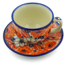 7 oz Stoneware Cup with Saucer - Polmedia Polish Pottery H5252J