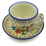 7 oz Stoneware Cup with Saucer - Polmedia Polish Pottery H5253J