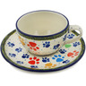 7 oz Stoneware Cup with Saucer - Polmedia Polish Pottery H5498L