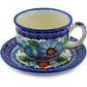 7 oz Stoneware Cup with Saucer - Polmedia Polish Pottery H7506K