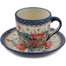 7 oz Stoneware Cup with Saucer - Polmedia Polish Pottery H7947K