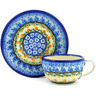 7 oz Stoneware Cup with Saucer - Polmedia Polish Pottery H8079D