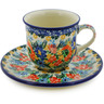 7 oz Stoneware Cup with Saucer - Polmedia Polish Pottery H8345J