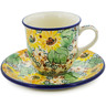 7 oz Stoneware Cup with Saucer - Polmedia Polish Pottery H8347J