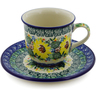 7 oz Stoneware Cup with Saucer - Polmedia Polish Pottery H8348J