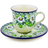 7 oz Stoneware Cup with Saucer - Polmedia Polish Pottery H8350J