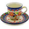 7 oz Stoneware Cup with Saucer - Polmedia Polish Pottery H8351J