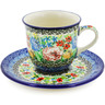 7 oz Stoneware Cup with Saucer - Polmedia Polish Pottery H8355J