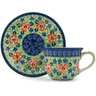 7 oz Stoneware Cup with Saucer - Polmedia Polish Pottery H8707A