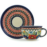 7 oz Stoneware Cup with Saucer - Polmedia Polish Pottery H8900B